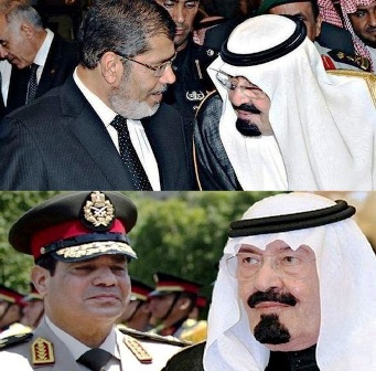 Saudi political activist, known as Mujtahidd, has revealed that Al Saud government has helped Egyptian defense minister with one billion dollars to topple Mohamed Morsi, Egypt's first democratically elected President.