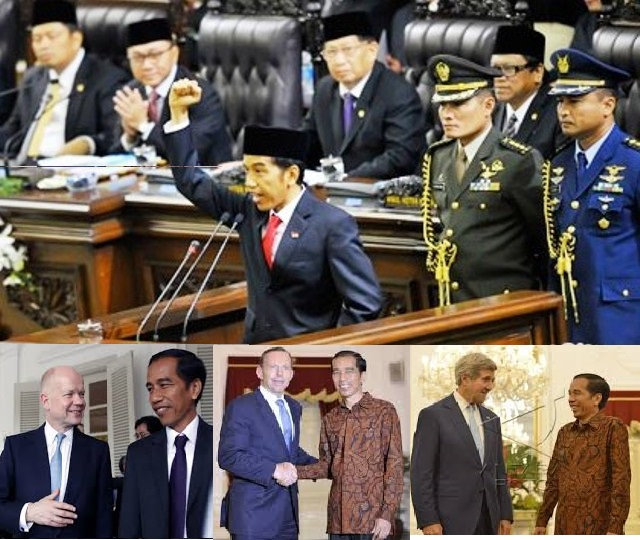Main Picture:President Joko Widodo delivered his passionate inauguration speech. Small pictures: UK Forign Minister William Hague, Australian PM Tony Abbot and US Secretary of State John Kerry paid courtesy calls on Indonesia's new president.