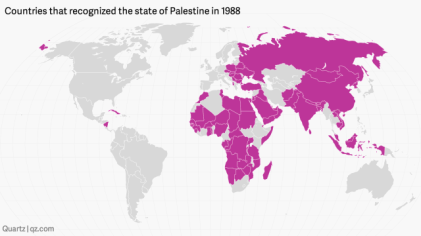"An UNGA resolution was adopted ""acknowledging the proclamation of the State of Palestine by the Palestine National Council on 15 November 1988.""By mid-December, 75 states had recognised Palestine, rising to 93 states by February 1989."