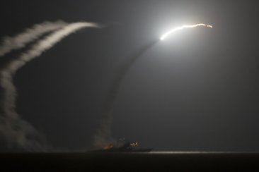 (A U.S.-launched missile aimed at Islamic State group targets)